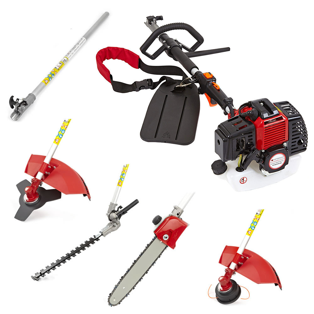 43cc 5 in 1 petrol hedge trimmer chainsaw strimmer for Garden tools accessories