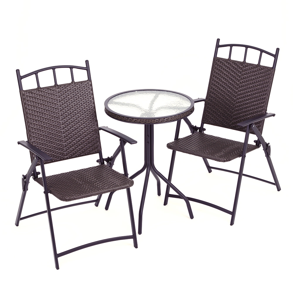 patio slate tiled rattan bistro dining table 2 chairs furniture