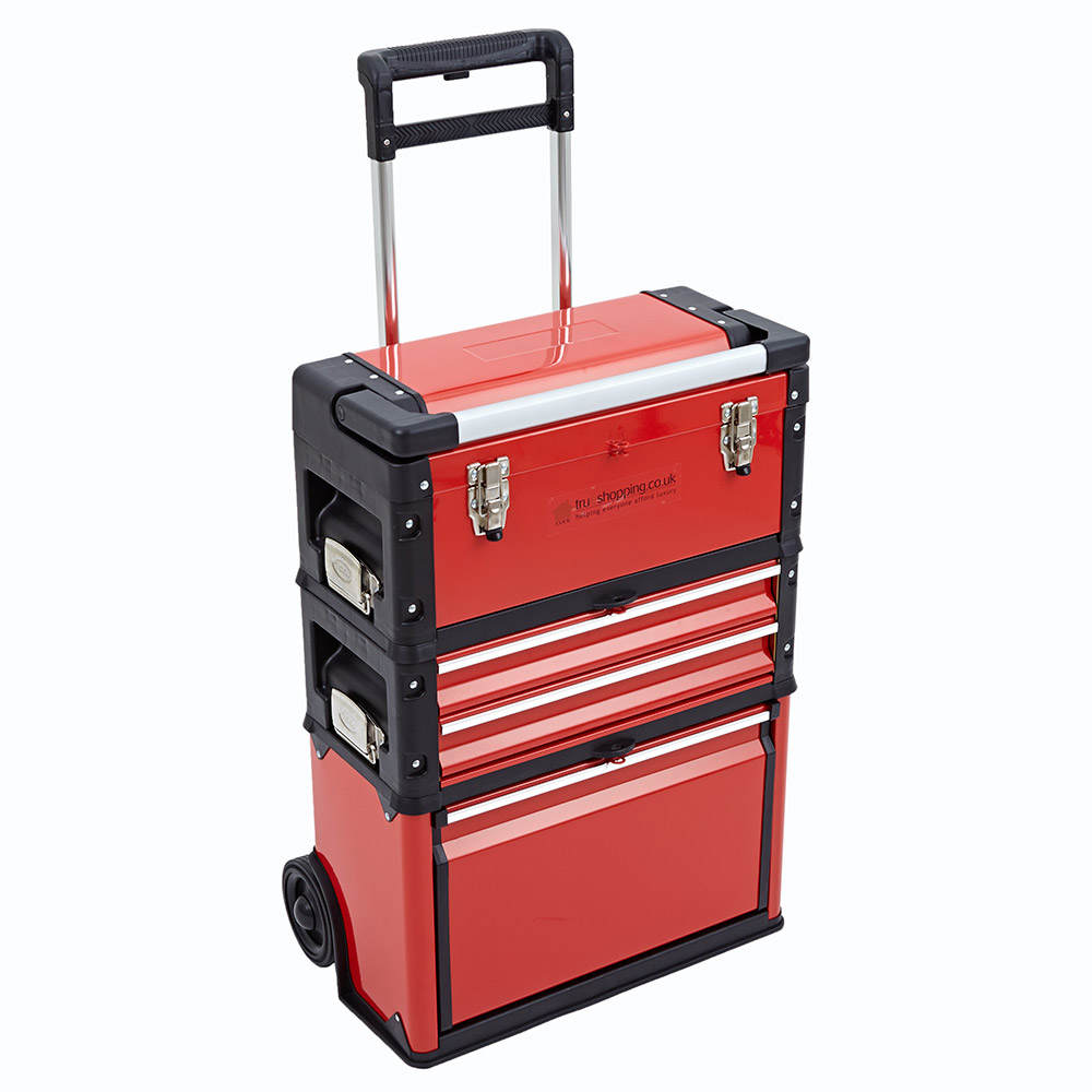 3 in 1 trolley tool box set 4 drawers boxes storage cabinet portable wheel steel. Black Bedroom Furniture Sets. Home Design Ideas